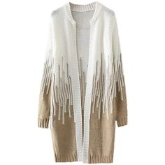 Womens Loose Beaded Color Block Long Sleeve Cardigan Sweater Khaki (1.790 RUB) ❤ liked on Polyvore featuring tops, cardigans, khaki, loose cardigan, color block cardigan, beaded cardigan, long sleeve cardigan and white beaded top