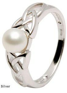 All Celtic Jewellery - Irish Silver Celtic Love Knot Cultured Pearl Ring
