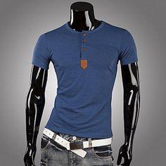 Dana rundan hånglar PU läder Skarv Knappar Embellished korta ärmar Polyester T-shirt för Män