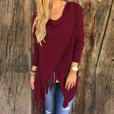 Zanzea Fashion Blusas Spring Autumn Women Blouses Tassels Irregular Hem Long Sleeve Knitted Cardigan Casual Plus Size Tops