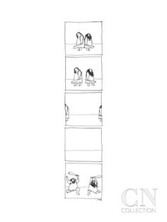 A panel series of a caveman duel, where they start back to back, take twen… - New Yorker Cartoon Premium Giclee Print