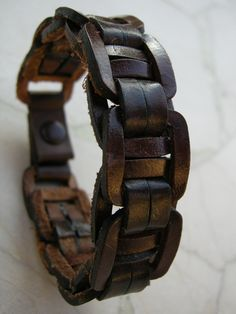Mens Leather Cuff Brown Linked Recycled Reclaimed Bracelet with Snap BRN-129-1 by ARTifactsBYJANIE on Etsy https://www.etsy.com/listing/183056944/mens-leather-cuff-brown-linked-recycled