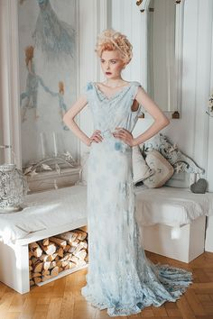 'The Harebell and the Bee' hand tinted pale blue French lace and silk chiffon wedding dress www.joanneflemingdesign.com