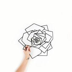 Metal Wall Art Geometric Rose Flower Home Decor Interior Sign | Etsy