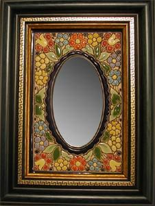 """Spanish Handmade Mirror with Enamels a unique piece made in Spain following the famous antique """"cuerda seca"""" technique just the way it was practiced in the 15th Century."""