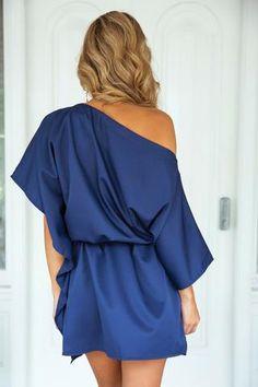 Sateen Dress (Navy)▶ ▷ ▶ Shop It Now ❤ Xenia Boutique xx