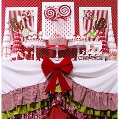 "View this party        Candy Christmas Party {Christmas Party Theme}     This Candy Christmas party table features lots of DIY projects and ideas including styrofoam ""candies,"" Santa hat cake pop holders, candy trees, thrift store cake stands and an adorable ruffled tablecloth."