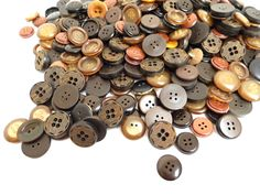 Set of 100 Vintage Buttons Coat Button Large Antique Brown 1 cm 2 cm Round Flat Ornate Assorted 2 Holes 4 Holes Mismatched Sewing Supplies by WoodHistory on Etsy