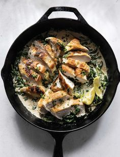 Check out these new recipes from Magnolia Table, Volume 2 by Joanna Gaines. On the menu: an easy one-skillet chicken Florentine recipe, weeknight salmon, and more. New Recipes, Dinner Recipes, Dinner Ideas, Favorite Recipes, Summer Recipes, Appetizer Recipes, Florentines Recipe, Spinach Tortellini Soup, Chicken
