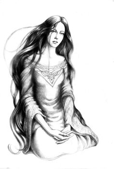"Lúthien    ""Lúthien was the most beautiful of all the Children of Ilúvatar. Blue was her raiment as the unclouded heaven, but her eyes were grey as the starlit evening; her mantle was sewn with golden flowers, but her hair was dark as the shadows of twilight. "" — The Silmarillion, J.R.R. Tolkien"