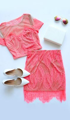 Two-piece neon lace set. : Two-piece neon lace set. Cool Outfits, Summer Outfits, Fashion Outfits, Blazers, Skirts For Sale, Cheap Skirts, Two Piece Dress, Discount Designer Clothes, Spring Summer Fashion