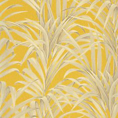 Papier peint DOMITILLE 100% intissé motif tropical, jaune moutarde -