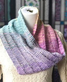 Free Knitting Pattern for Serene Sampler Cowl - This easy cowl is worked flat in garter stitch and dropped stitches for a unique texture. The color effect is created with mini skein gradients but I think you could achieve the same effect with variegated yarn. Designed by Kristin Omdahl