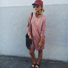 Casual in pink. The perfect go-to jumper dress is even more major when it's in blush pink. #AsSeenOnMe