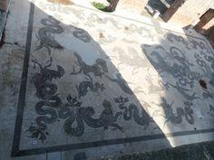 Mozaïk van Neptunus op de grond van een badhuis in Ostia Antica ~ dag 3