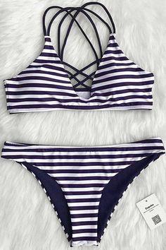 Cupshe Draw A Parallel Stripe Bikini Set
