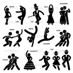 Illustration of Dancing Dancer Ballet Jazz Tap Belly Ballroom Swing Break Modern Latin Tango Flamenco Line Stick Figure Pictogram Icon vector art, clipart and stock vectors. Dancing Day, Swing Dancing, Salsa Dancing, Bailar Swing, Danse Salsa, Dancing Clipart, Urban Dance, Dark Fantasy Art, Dance Images