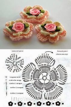 Crochet Flowers - free patterns-diagrams-video - Πλεκτά λουλούδια με βελονάκι | Marieta's Yarnland