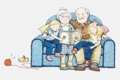 What is it about grandparents and their grandchildren? Maybe the appeal is a relationship full of mutual admiration, unconditional love and the chance to really have some fun — especially without those fuddy-duddy parents around. Have Some Fun, Grandchildren, Illustration, Peanuts Comics, Family Guy, Princess Zelda, Relationship, Reading, Fictional Characters