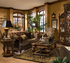 If you are having difficulty making a decision about a home decorating theme, tuscan style is a great home decorating idea. Many homeowners are attracted to the tuscan style because it combines sub… Tuscan Living Rooms, Home Living Room, Living Room Designs, Tuscan Style Bedrooms, Italian Living Room, Casa Magnolia, Tuscan Furniture, Modern Furniture, Rustic Furniture
