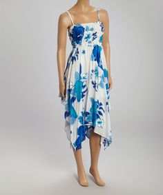 Take+a+look+at+the+White+&+Blue+Shirred+Handkerchief+Dress+on+#zulily+today!