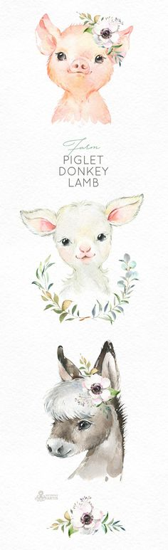 Watercolor little animals clipart baby pig country fun sunglasses flowers wreath kids nursery art baby-shower Clipart Baby, Baby Pigs, Pet Pigs, Baby Baby, Watercolor Images, Watercolor Animals, Baby Animal Drawings, Baby Animals, Cute Animals
