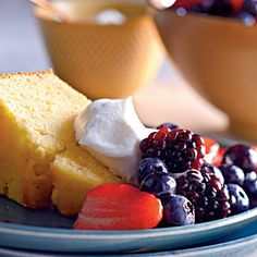 Because of the addition of cornmeal to the batter, the texture of this pound cake resembles a sweet and tender cornbread instead of the usual dense texture you might expect from a traditional pound cake. Top this simple cake with whipped cream and berries for a company-worthy dessert.