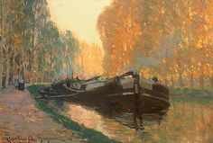 Canal Boat Artwork By Clarence Gagnon Oil Painting & Art Prints On Canvas For Sale Canadian Painters, Canadian Artists, Clarence Gagnon, Art Inuit, Of Montreal, Canal Boat, Sculpture, Great Artists, Landscape Paintings