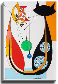 Cat U by Dominic Bourbeau Graphic Art on Wrapped Canvas