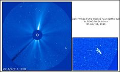 This giant winged mothership was caught on NASA/SOHO images this week and proves once and for all that aliens do exist and they are flying through our very own solar system! If this UFO is near the sun, then we can assume it is 4-5 times that of Earths size. Original Soho Photo: http://sohowww.nascom.nasa.gov//data/REPROCESSING/Completed/2013/c3/20130711/20130711_1730_c3_1024.jpg  #Aliens #Ufo #Sun #Space #Nasa #Earth #Soho