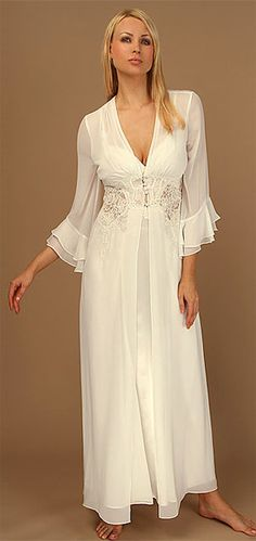 """The Kathryn matching chiffon robe features a sweeping skirt with a corded lace bodice and ruffled sleeves. Pairs with the Kathryn gown to create a lovely peignoir set. Satin covered button front closure. 57"""" long. Designed by Jonquill. Price: $164"""