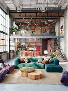 51 industrial lofts created with rendering software - Home Decor Loft Interior Design, Loft Design, Tiny House Design, Interior Modern, Wall Design, Exterior Design, Industrial Home Design, Industrial House, Vintage Industrial Bedroom