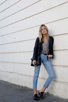 leather moto jacket + cropped denim + slides