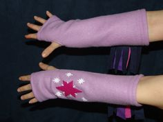 My Little Pony TWILIGHT SPARKLE inspired fleece ARMWARMERS Friendship is Magic MlP FiM unicorn