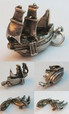 Vintage sterling silver English ship charm opens to cargo — sold for 82 usd