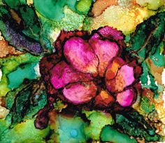 alcohol ink art | Rambling Silently: Flowers and landscapes with alcohol inks