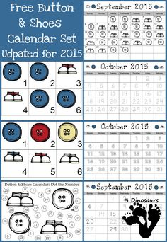 FREE 2015 Calendar with Buttons and Shoes Printables