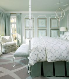 Tobi Fairley Sherwin-Williams Pearl Gray, which helps give the room its a serene and calm vibe. - Green gray