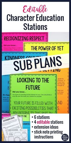BACK TO SCHOOL Editable Stations Activity Character Education I always need editable sub plans for middle school or high school. These sub plans focus on character education and include respect, growth mindset, goal setting, and kindness. Character Education Posters, Education Quotes, Math Education, Lincoln, Middle School, High School, School Fun, School Ideas, Sub Plans