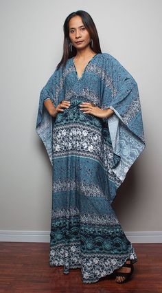 Blue Grey Kaftan Boho Print  - Kimono Butterfly Maxi Dress : Funky Elegant Collection
