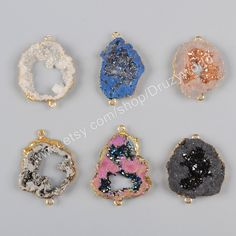 Wholesale Gold Plated Edge Multi Colors Titanium Geode Quartz Druzy Connector Crystal Drusy Gemstone Pendant Druzy Slice Making Beads G1016 by Druzyworld on Etsy