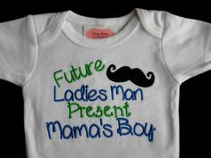 Baby Boy Clothes  Embroidered One-Piece with Mustache and Future Ladies Man Present Mama's Boy  Baby Boy Gift on Etsy, $17.00