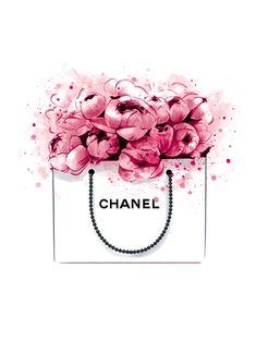 Image of Peonies + Chanel Print Mode Poster, Chanel Print, Chanel Poster, Chanel Logo, Chanel Chanel, Perfume, Fashion Wall Art, Decoupage, Illustration Art