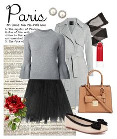 """Autumn in Paris"" by teenageprincessgirl ❤ liked on Polyvore featuring Theory, Ballet Beautiful, Carolina Herrera, Human Premium, Michael Kors, Carolee, paris, trenchcoat, tulleskirt and fallgetaway"