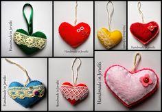 Handmade in Jerutki: Serduszka zawieszki / Felt hearts