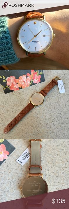 NWT Kate Spade Quilted Metro Grand Watch A clean, stick-index dial offers simple elegance in a slim watch. Fitted with a quilted genuine  leather strap. 38mm case. Battery works great. Brand new with tags and protective film over face! kate spade Accessories Watches