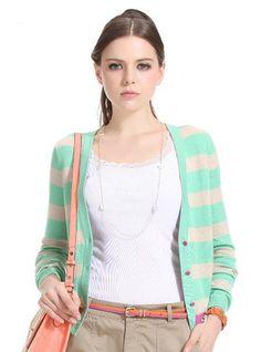 $29.99 V Neckline Striped Knit Sweater @ MayKool.com