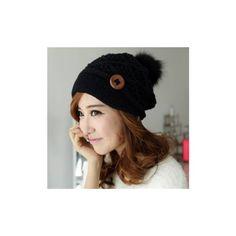 e8dffcd98e2 Button Crochet Knit Beret Hat Ski Baggy Beanie Ball Wool Cap ( 9.31) ❤ liked