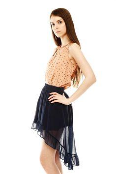 Ruffle Hem Hi-Lo Skirt