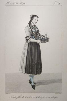 Schweizer Trachten. Weibliche Trachten aus Solothurn, Thurgau und Uri. 3 Bll. Kupferstiche von Gatine aus 'Costumes de div. Pays', um 1820